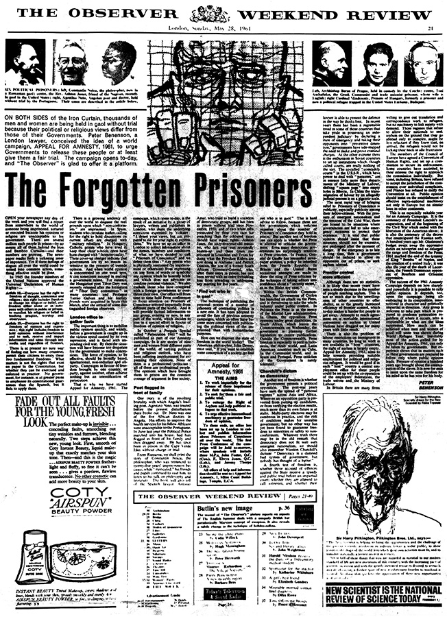 The Forgotten Prisoners - The Observer Newspaper, 28 May 1961
